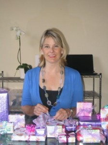 Belinda at desk gift wrapping