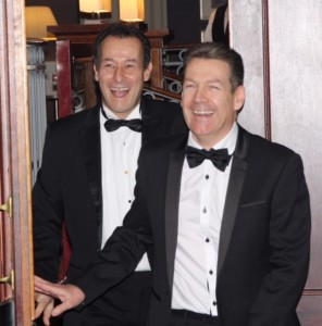Steve Blakemore (front) and Alister Marchant (CBG CEO) arrive at Surprise Party